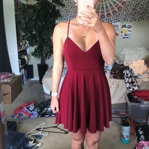 Burgundy/maroon dress, open back